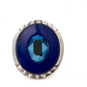 Versace ring blue enamel/ stone